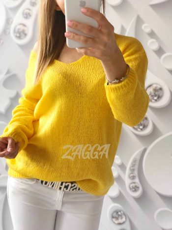 sweterek V dekolt żółty