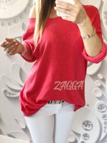 sweter ARONA czerwony luźny mięciutki v dekolt
