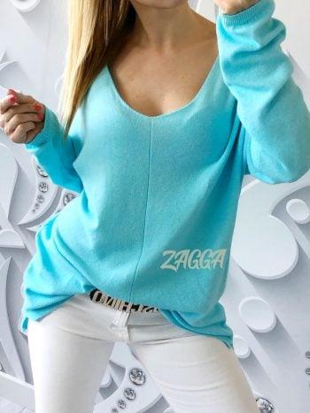 sweter arona błękitny v dekolt luźny krój oversize