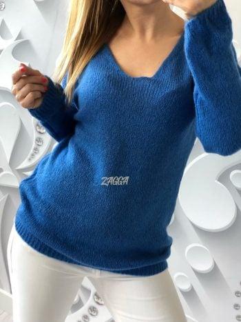 sweterek v dekolt granatowy