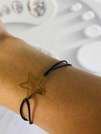 bransoletka czarny rzemyk złota gwiazdka