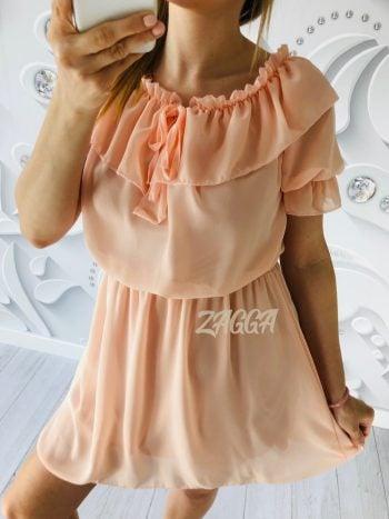 morelowa sukienka może być noszona bez ramiączek na górze wiązana ozdobnym sznurkiem ozdobna falbana w pasie gumka długość do kolan rozmiar uniwersalny