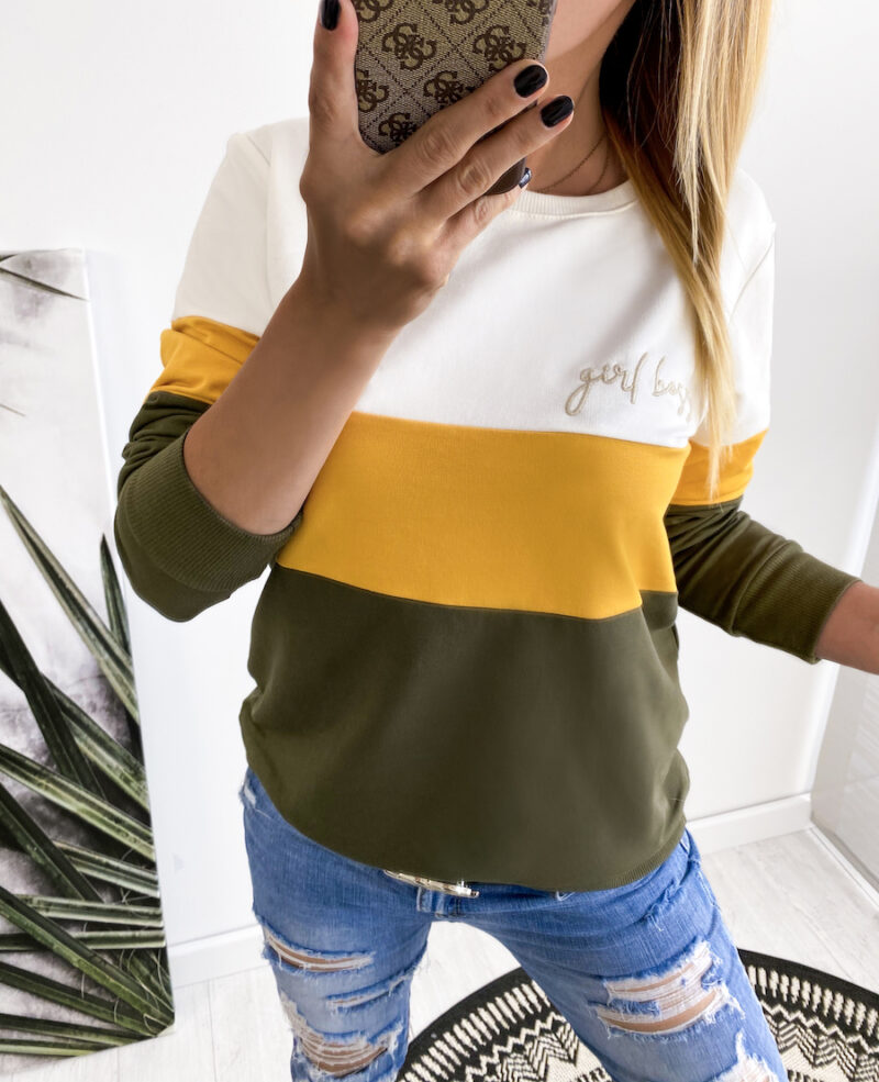 bluza GIRLboss khaki/yellow