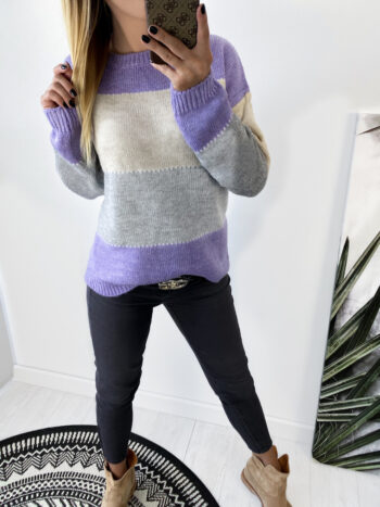 sweter FOUR violet/gray