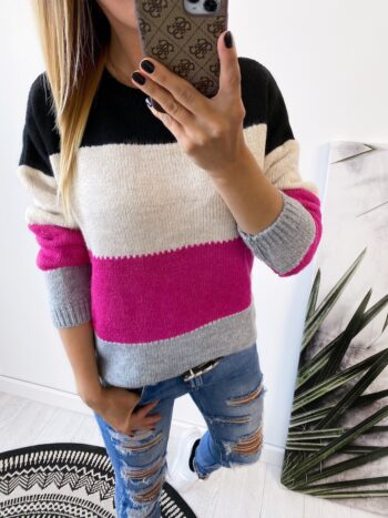 sweter FOUR pink/gray/black