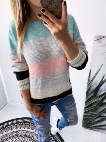sweter FOUR green/pink