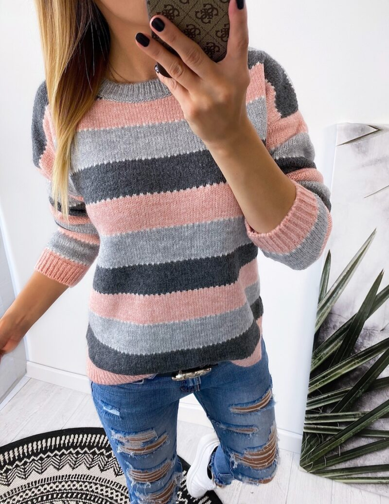 sweter BELTS pink/gray