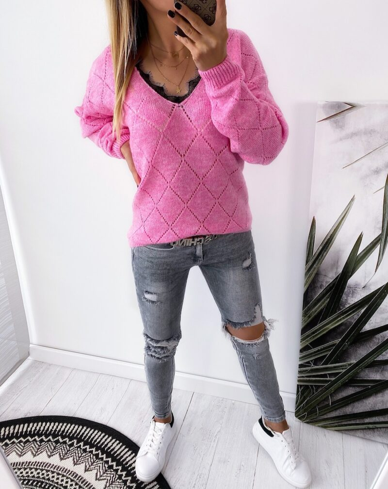 sweter ROMB pink