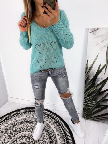 sweter HEART mint