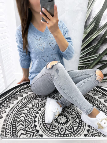 sweter HEARTS blue