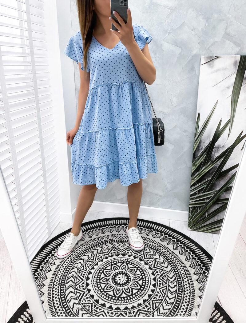 niebieska sukienka w groszki