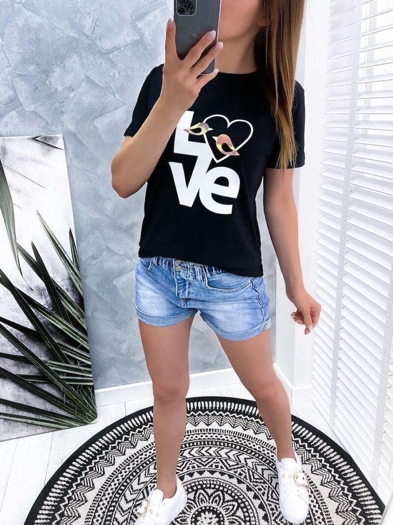 t-shirt LOVE czarny