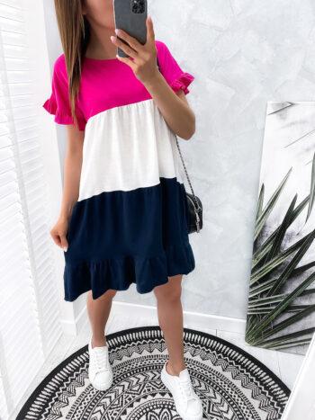 sukienka MIXT pink/navy