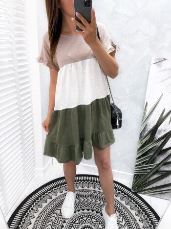 sukienka MIXT beige/khaki