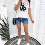 t-shirt LOVE biały