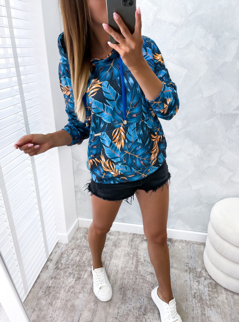 bluza KANGURKA w liście marin