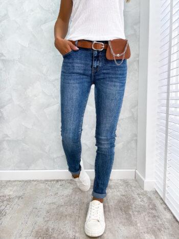 spodnie JEANS z paskiem i nerka