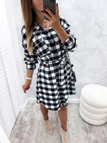 sukienka CASSE b&w krata
