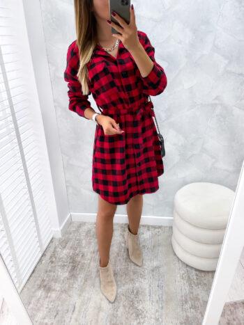 sukienka CASSE czerwona krata