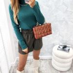 dopasowana bluzka z golfem green