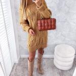 sukienka SWETERKOWA camel